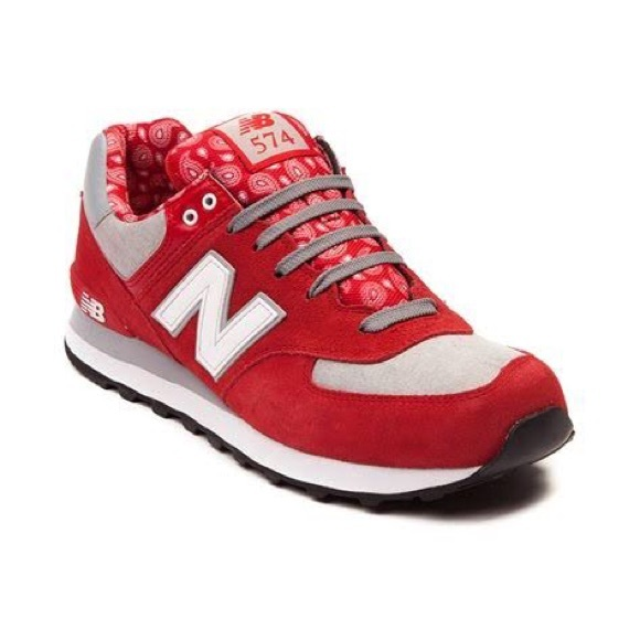 New Balance Red 574 Paisley New Tennis Shoes